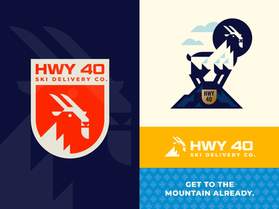 HWY 40 Ski Delivery Co. illustration logo animal slope service delivery utah negative space retro snowboards swiss shield crest badge snowboard ski mountain sheep goat brand