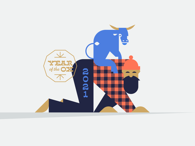 2021: Year of the Ox flannel animal zodiac chinese new year farm riding geometric illustration logo blue babe plaid bunyan lumberjack bull cow ox