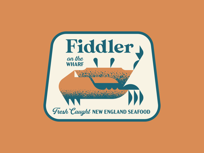 Fiddler on the Wharf - pt. 1 texture illustration claw cape cod boston new england geometric animal patch logo badge restaurant seafood nautical crab