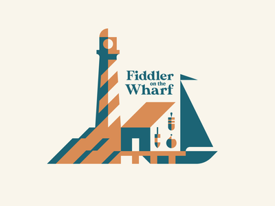 Fiddler on the Wharf - pt. 2 badge restaurant crab lobster buoy shack fisherman negative space shadow lighthouse pier sailboat dock new england seafood geometric illustration logo