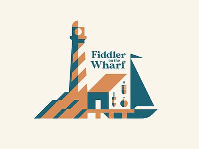 Fiddler on the Wharf - pt. 2 badge restaurant crab lobster buoy shack fisherman negative space shadow lighthouse pier sailboat dock new england seafood geometric illustration logo