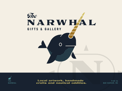 Brandimals pt. 14 - Narwhal animal geometric illustration logo whale whaling vintage retro harbor store shop gift sea fish horn bar harbor maine nautical ocean narwhal