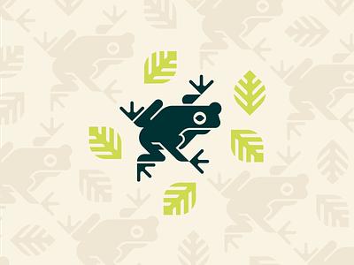 Tree Frog nature outdoors pattern tropical minimalist toad leaf jungle amphibian frog animal icon geometric illustration logo