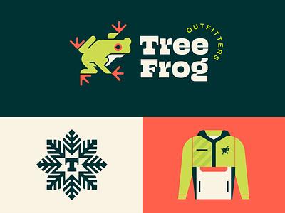 Brandimals pt. 18 - Tree Frog monogram badge minimalist jungle tree green leaves jacket amphibian nature outfitters toad frog animal branding icon geometric illustration logo