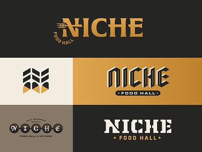 NICHE Food Hall & Culinary Institute kansas wichita serif food fork geometric architecture blackletter kitchen culinary wheat gold branding icon stencil custom type wordmark logo