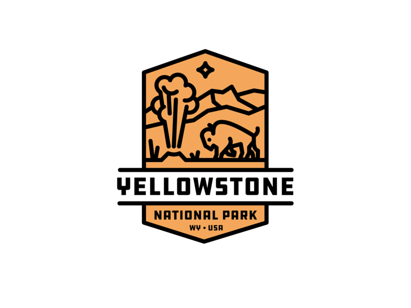 Yellowstone National Park Badge mountain patch geyser buffalo bison park geometric branding brand identity icon illustration logo
