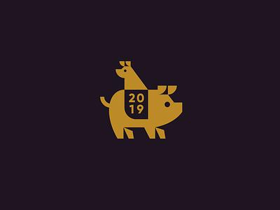 Happy 2019! farm gold new year flat dog pig animal geometric brand identity icon illustration logo