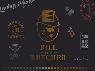 Bill the Butcher film movie cinema drama martin scorsese butcher butcherie meat steak pig cow animal farm knife knives cleaver vintage retro classic new york packaging design mockup brand branding identity logo logomark logotype