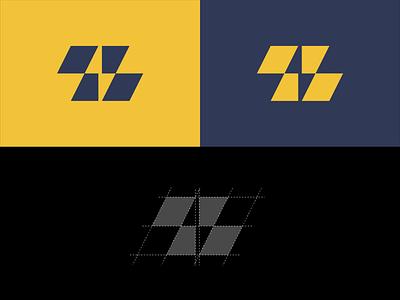 Z + Lightning Concept icon digital electric grid charge lightning geometric marketing logo z letter bolt