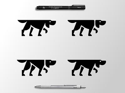 Hound Logo Options ear paw black  white hound dog animal geometric branding brand identity illustration icon logo
