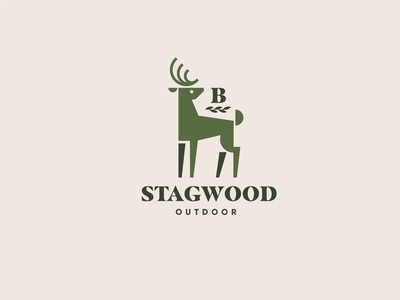 Stagwood Outdoor Apparel antler forest stag deer outdoor logo animal geometric branding brand identity illustration icon logo