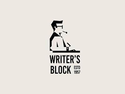 Writers Block Illustration pen author writer shadow negative space geometric logomark branding brand identity illustration icon logo