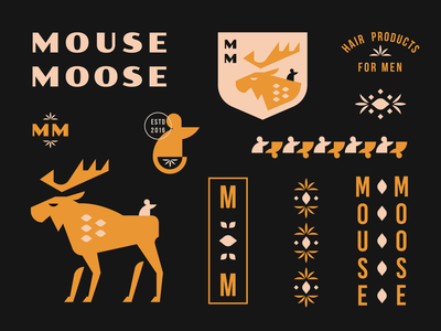 Mouse Moose Hair Care gel monogram floral pattern badge animal geometric branding brand identity icon illustration logo