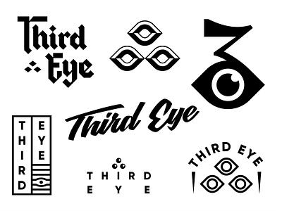 Third Eye custom bevel eye badge backletter script cyclops mystical geometric icon illustration logo