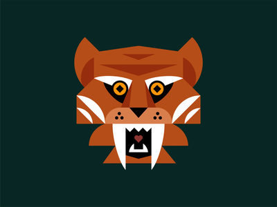 Geometric Tiger Illustration fierce shape wild jungle roar cat animal geometric branding icon illustration logo