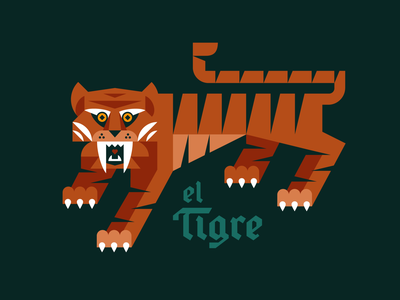 el Tigre predator stripes claw custom type blackletter cat jungle tiger animal geometric illustration logo
