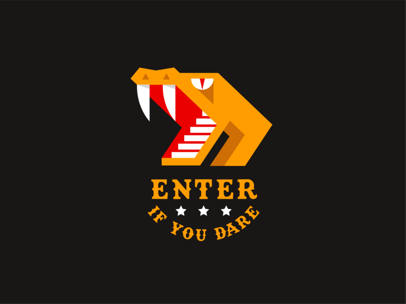 Enter if You Dare stairs venom viper cobra circus rollercoaster amusement park snake animal geometric illustration logo