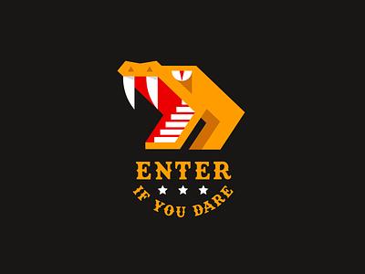 Enter if You Dare stairs venom viper cobra circus rollercoaster amusement park snake animal geometric illustration logo