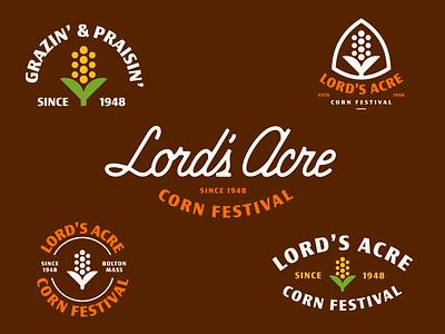 Lord's Acre Corn Festival vegetable geometric custom script vintage farm script badge branding brand identity icon illustration logo