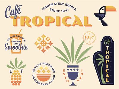 Cafe Tropical (from Schitt's Creek) pineapple vintage retro leaves tree palm bird toucan geometric illustration logo