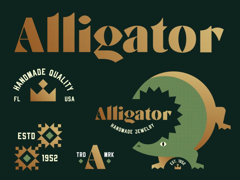 Brandimals 01 - Alligator gold crocodile diamond crown jewelry swamp alligator badge animal geometric illustration logo