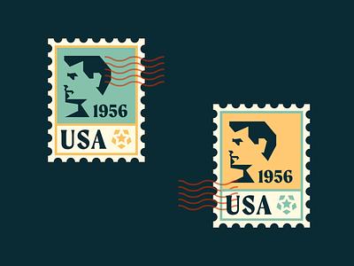 USA Stamps risograph star america man head face silhouette vintage badge geometric illustration logo