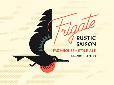 Brandimals 06 - Frigate Bird beak fly beer label brewery saison wings bird custom script geometric animal illustration logo