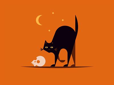Happy Halloween! shadow eyes creepy spooky halloween moon skull black cat cat animal icon illustration logo