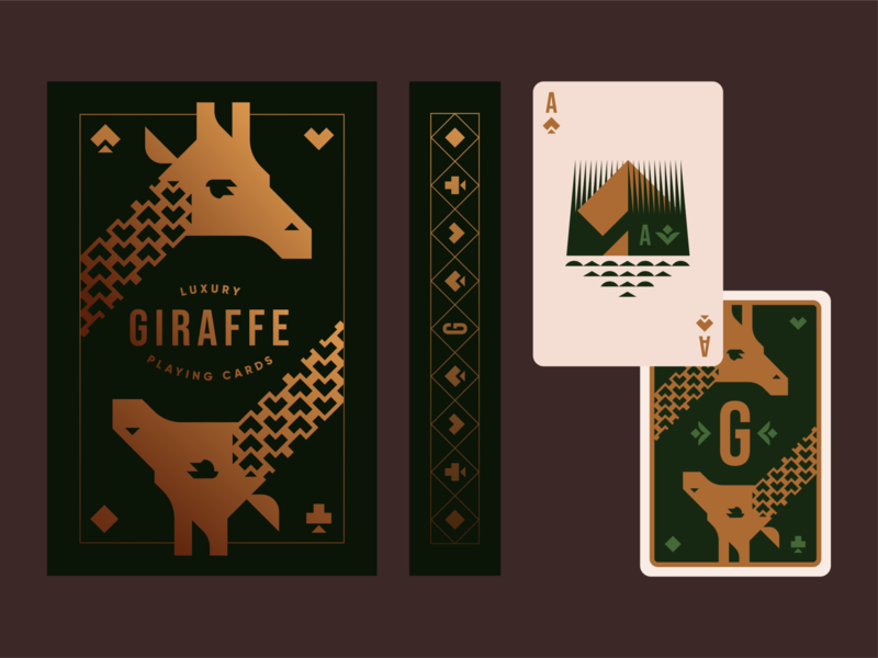 Brandimals 07 - Giraffe geometric jungle deck of cards playing cards ace of spades ace gold foil playing card animal branding illustration logo