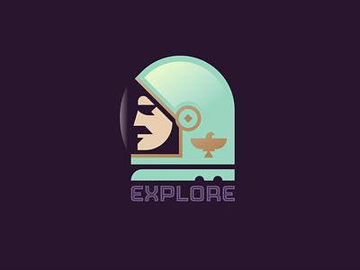 Explore! eagle badge planet moon alien helmet outer space nasa space astronaut illustration logo
