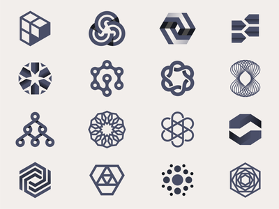 Tech Logo Explorations loop weave connect symmetrical hexagon advertising logomark geometric branding brand identity icon logo