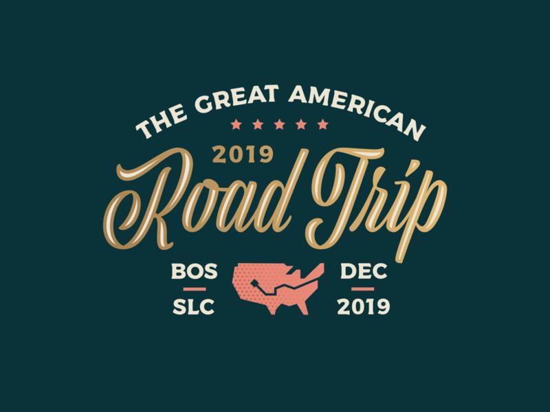 Cross-Country Road Trip!! vintage retro gold adventure usa america typography customtype script badge illustration logo