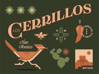 New Mexico native american bird desert pepper chili southwest cactus roadrunner badge animal geometric illustration logo