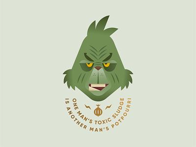 Merry Christmas! dr. seuss cindy lou who christmas quote onion green jim carrey grinch geometric illustration logo