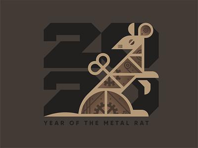 2020: Year of the Metal Rat industrial robot metallic gear new year mouse steampunk custom type animal geometric illustration logo