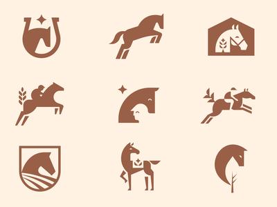 Equestrian Farm Explorations horseshoe jockey nature inspiration badge equine rider horse animal geometric illustration logo