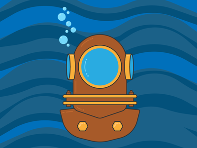 Deep Diver diving scuba underwater vector helmet diver