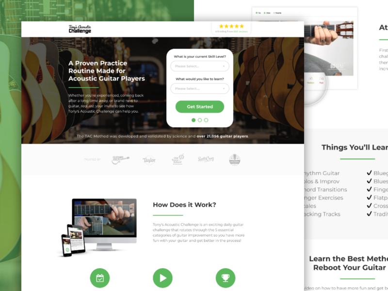 Tony's Acoustic Challenge   Landing Page 🎸 challenge guitar app saas ads ui leadgen design landing page klientboost cro