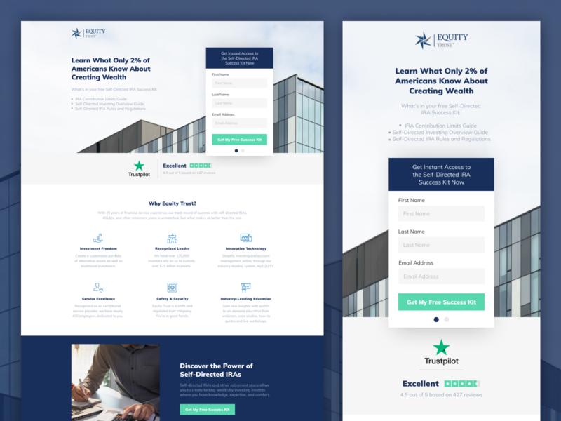 Equity Trust   Landing Page 💰 advertisement ads leadgen design klientboost landing page cro
