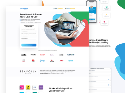 JobAdder | Landing Page 👩💻👨💻 software company software job listing jobs recruitment advertisement ui leadgen design landing page klientboost cro