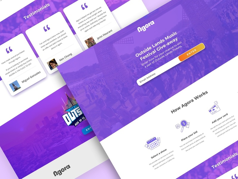 Agora | Outside Lands Give-Away Landing Page landing page klientboost cro leadgen