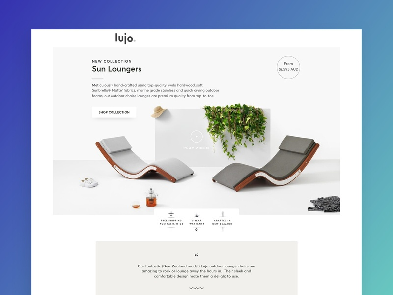 Lujo | Sun Lounger Landing Page ui design ecommerce ecomm klientboost landing page cro