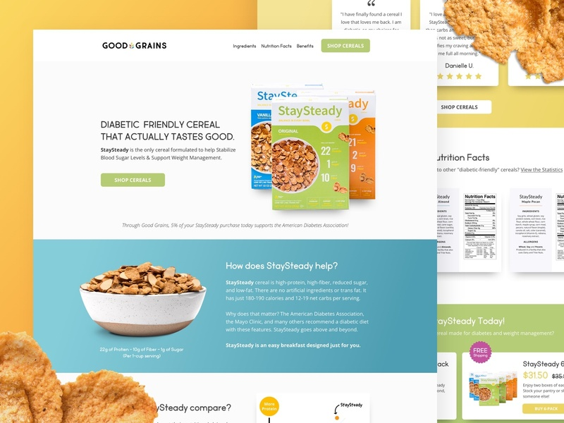 Good Grains | StaySteady Cereal Landing Page cereal design ui ecommerce ecomm klientboost landing page cro