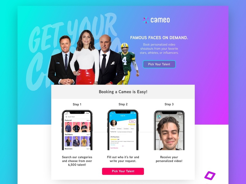 Cameo | Book a Cameo Landing Page facebook ads ecommerce ecomm app book app ui advertisement ads design klientboost landing page cro