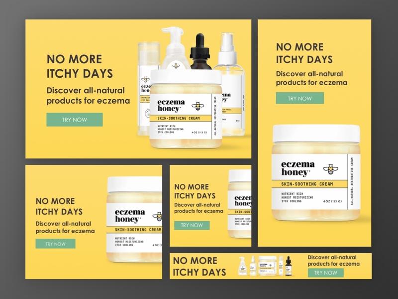 Eczema Honey   Display Ads display ads facebook ads advertisement ads ecommerce ecomm design leadgen klientboost cro