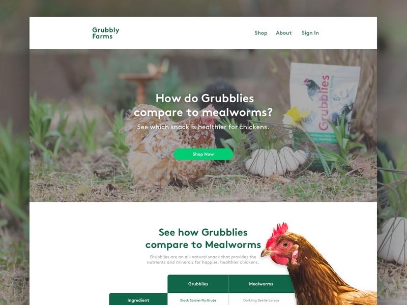 GrubblyFarms   Landing Page 🐓 ui ecommerce ecomm design landing page klientboost cro