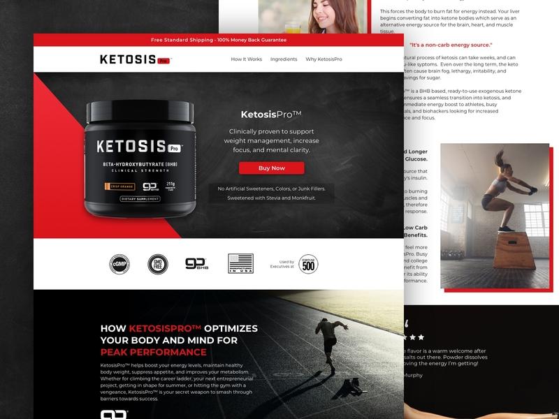 KetosisPro   Landing Page 💪 ui ecommerce ecomm design landing page klientboost cro