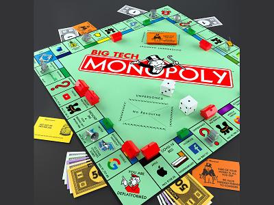 Big Tech Monopoly toydesign toy design art editorialillustration editorial c4d illustrator illustration 3d