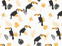 Toucans and leaves