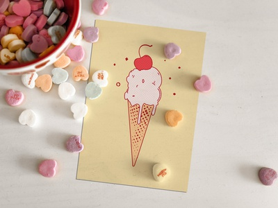 Ice cream corn flat design
